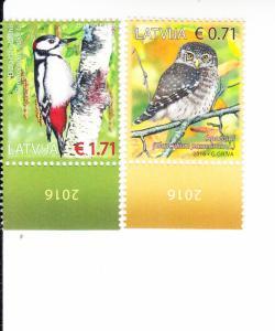 2016 Latvia Birds (2) (Scott 935-36) MNH