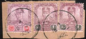 MALAYA JOHORE 1922 3 stamps on piece MUAR cds..............................88891