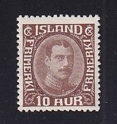 Iceland    #181  MH   1931  Christian X   10a   redrawn
