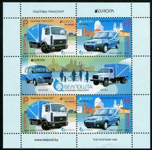 HERRICKSTAMP BELARUS Sc.# 857a EUROPA 2013 Postal Vehicles S/S