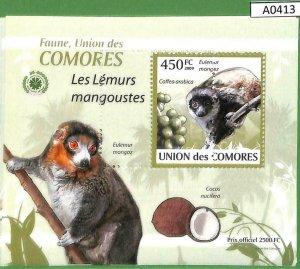 A0413 -COMOROS - ERROR MISSPERF  2009 Animals Lemur лему́ры Звери