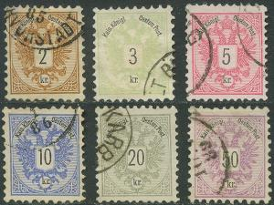Austria - 1883 - Scott #41-46 - complete VF used