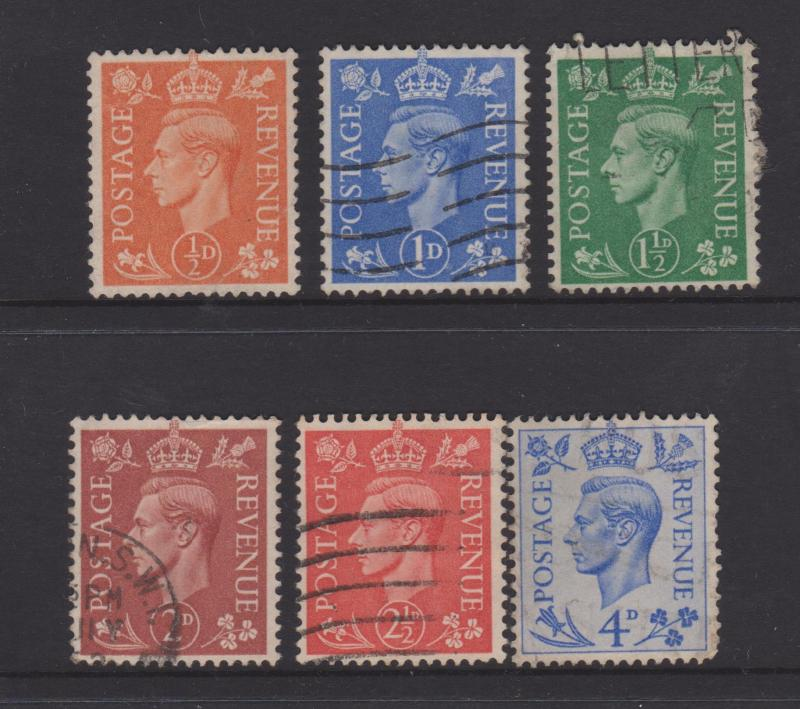 Great Britain 1950 KGVI Issue Sc#280-285 Used