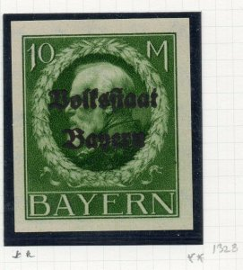 Bayern 1919 early Imperf Issue Fine Mint Hinged 10M. Optd NW-10823