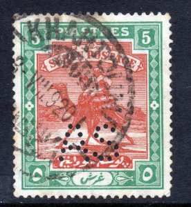 SUDAN 1913-22 Camel Postage 5p.Brown & Green Perforated A S  SG A24 VFU