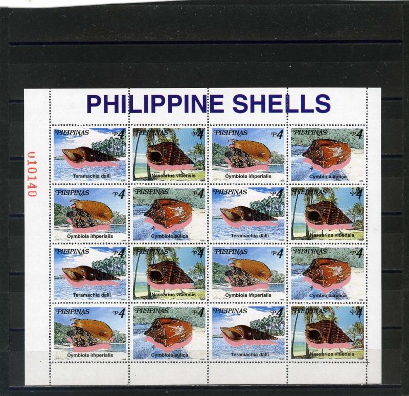 PHILIPPINES 1998 Sc#2568-2569 SHELLS SHEET OF 16 STAMPS MNH