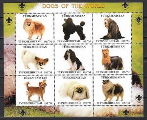 Turkmenistan, 1999 Russian Local. Dogs of the World sheet of 9. Scout logo.