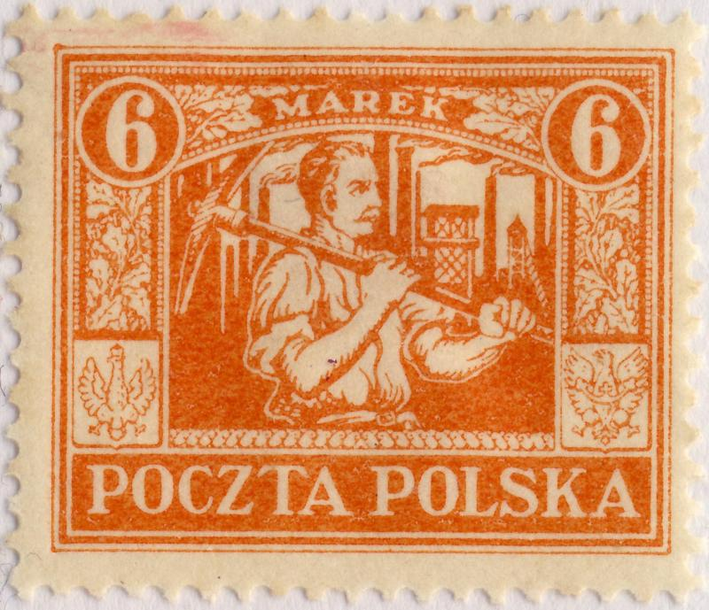 POLOGNE / POLAND - UPPER SILESIA 1922 Mi.13 p.12-1/2 6Mk Orange-Red - Mint*