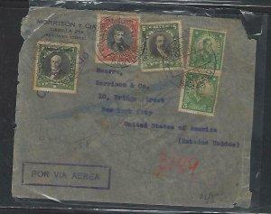 CHILE  (P3108B)   1932  REG  A/M  COVER 52P+1P+5P+5C PR SANTIAGO TO USA