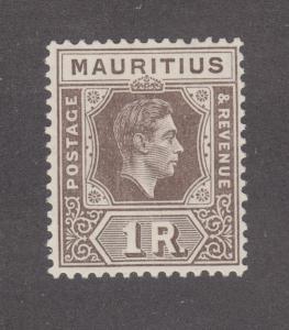 Mauritius Sc 219 MLH. 1938 1r brown black KGVI, F-VF