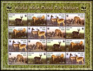 Malawi WWF Puku Sheetlet of 4 sets SG#1013-1016 MI#721-724 SC#714 a-d