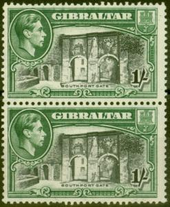 Gibraltar 1942 1s Black & Green SG127bvar Vertical Line before Southport Fine MN