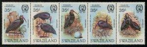 SWAZILAND Sc#448 Strip of 5 1984 Bald Ibis Birds Cpl Set OG Mint NH