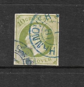 HANNOVER  1859-61  10gr  GREEN  IMPERF   FU      Sc 24   SG 31