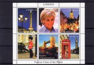 Turkmenistan 2000 Princess Diana/London Famous Cities of the World Shlt (6) MNH