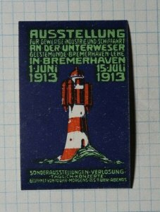 Exhibit Commercial Ships 1913 Bremerhaven DE Lighthouse Expo Poster Stamp Ads