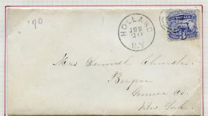 UNITED STATES 3c INLAND RATE 1869 LOCO ISSUE ON COVER HOLLAND NY HAND CANCEL