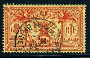 NEW HEBRIDES 1925 French Currency 40c. Red on Yellow Paper No Wmk SG F47 VFU