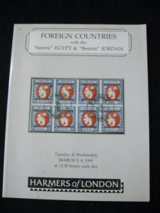 HARMERS AUCTION CATALOGUE 1991 FOREIGN with EGYPT 'SAMRA' & 'BESTON' JORDAN