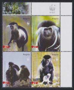Angola WWF Black-and-white Colobus 4v in block 2*2 WWF Logo SG#1717-1720