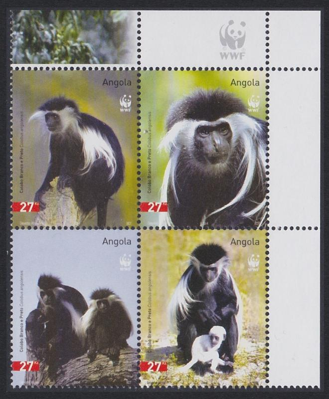 Angola WWF Black-and-white Colobus 4v in block 2*2 WWF Logo SG#1717-1720 SC#1279
