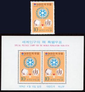Korea 904-904a mnh stamp+s/s set/2 1974 - World Population Year