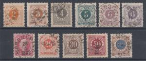 Sweden Sc 40-49, 44a used. 1886-91 Numerals with Post Horn on back, cplt set