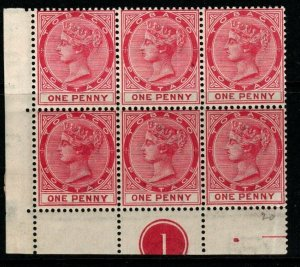 TOBAGO SG21 1889 1d CARMINE PLATE BLOCK OF 6 MNH(MTD IN MARGIN)