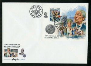 ANGOLA 2019 100th BIRTH OF NELSON MANDELA SOUVENIR SHEET FIRST DAY COVER