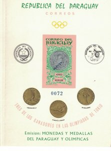 Paraguay Booklet Olympics 1965 Paraquan Medals MNH