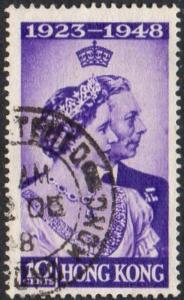 Hong Kong 1948 10c violet (Silver Wedding) used