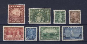 8x Canada MH Stamps;  #209-210 F/VF #211 to #216 VF.  Guide Value = $54.50.