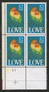 US  2537  MNH,  PLATE BLOCK,  LOVE BIRDS