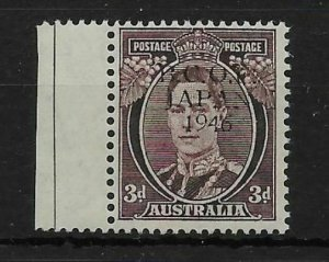 AUSTRALIA-B.C.O.F. SGJ3 1946 3d PURPLE-BROWN WITH BLACK TRIAL OVPT MNH