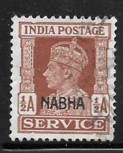 India Nabha O41: 1/2a George VI, used, F-VF