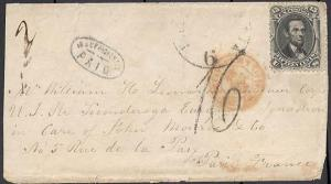 77, USED ON COVER TO FRANCE RARE AUXILIARY CANCEL