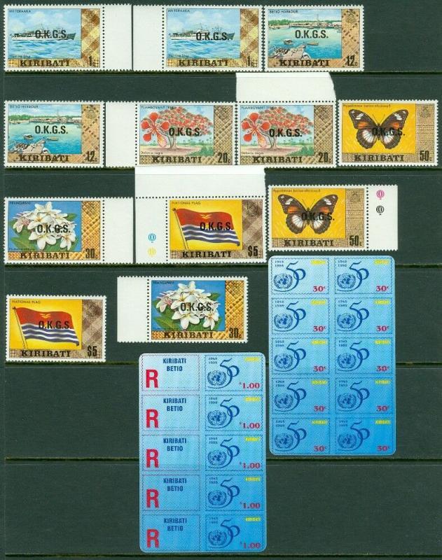EDW1949SELL : KIRIBATI 1981 Scott #O1a//15a Grouping of Diff values. Cat $86++