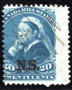 van Dam NSB12 - Nova Scotia Bill Stamp - 20c - Used, barely discernable document