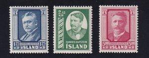 Iceland    #284-286   MNH   1954  Hafstein