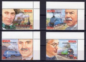 Bequia 1986 Sc#237/240 Railways and Locomotives Set (4) MNH