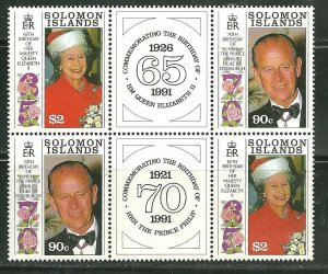 Solomon Islands MNH 689A Elizabeth & Phillips Birthdays W Labels SCV 9.00