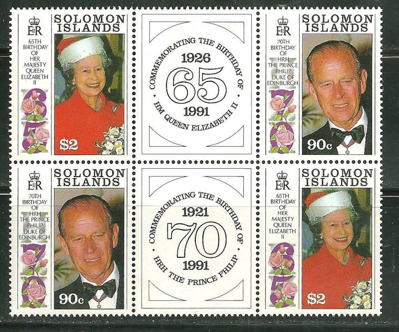 Solomon Islands MNH 689A Elizabeth & Phillips Birthdays W Labels SCV 9.00