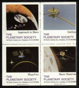 THE PLANETARY SOCIETY BLOCK OF 4 POSTER STAMPS MINT NO GUM, CINDERELLA