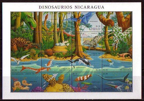 Nicaragua, Scott cat. 2041 a-p. Dinosaurs sheet. ^