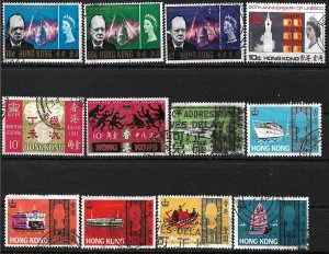 COLLECTION LOT #298 HONG KONG 12 STAMPS 1966+ CV + $30