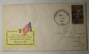 US FDC Sc# 897 Indian Town PA 1941 USPS 1st Day Card Nation American Flag