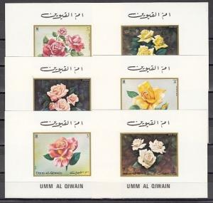 Umm Al Qiwain, Mi cat. 675-680 C. Roses issue as Deluxe s/sheets. ^