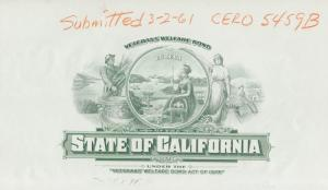 STATE OF CAL. PROOF ON WHITE PPR $1000 VET WELFARE BOND ACT OF 1925 BN7048