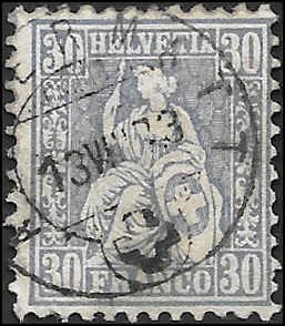 1867 SWITZERLAND  SC# 56 USED F SOUND CV $10.00