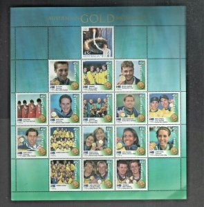 Australian Stamp Yearbook 2000 Gold Medalists Sheet Mint MUH Australia